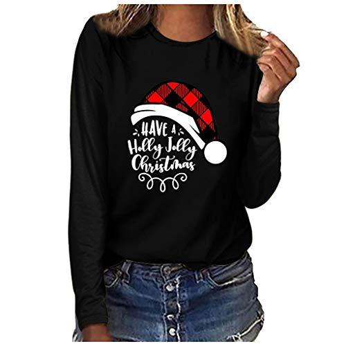 Xmiral Bluse Langärmliges T-Shirt Damen Drucken Rundhals Slim Fit Sweatshirt Weihnachten Tops Grundierung Pullover(b Schwarz,L)