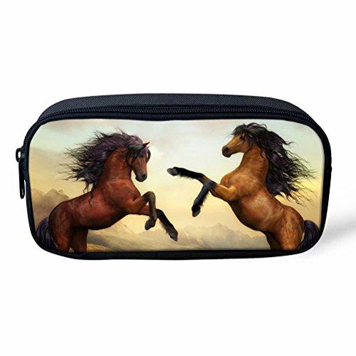 HUGS IDEA Astuccio per penne e matite con stampa di cavalli, per studenti, accessori per la scuola 22x4.5x11cm Horse Pattern 2