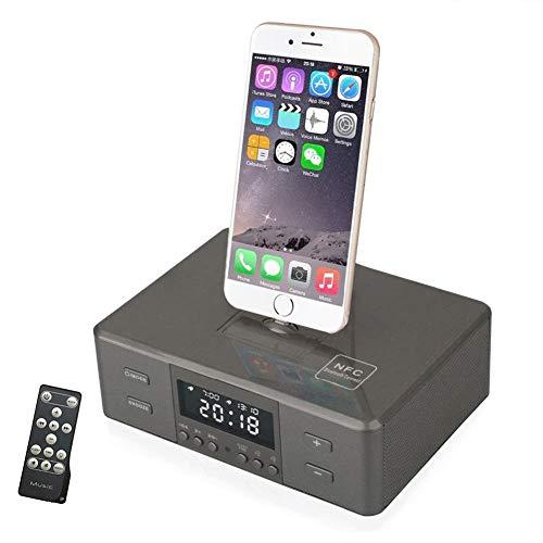OOLIFENG Despertador Radio FM Bocina Bluetooth con Dormitar, Puerto del Cargador USB, Manos Libres para iPhone XS, XS MAX, iPhone 8/7/6 Plus,Black