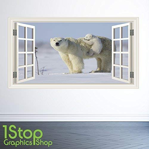 1Stop Graphics Shop Eisbär Wandaufkleber Fenster volle Farbe - Schlafzimmer Lounge Bullauge W158 - Small: 50 cm x 91 cm