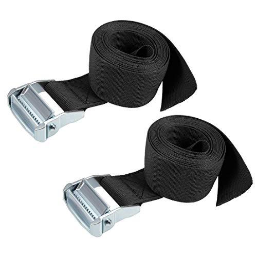 DyniLao Cam Buckle Tie Down Lashing Strap 3Mx50mm 500Kg Polypropylene Load Cap for Transporting Goods, Black, Set of 2