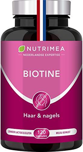 BIOTINE haar, nagels, huid – Zink en Selenium – Versnelt de haargroei, zorgt voor harde nagels en een stralende huid – Voedingssupplement – Nutrimea – 120 plantaardige capsules – Franse fabricatie