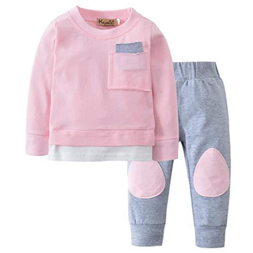 K-youth Ropa Bebe Niño Otoño Invierno 2018 Ofertas Infantil Pijama Recien Nacido Bebé Niña Sudaderas Manga Larga Camisetas Blusas + Pantalones Largos Conjuntos De Ropa(Rosa, 12-18 Meses)