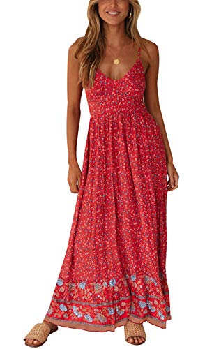 FASUND Women's Summer Floral Print Maxi Dress V Neck Casual Sleeveless Adjustable Spaghetti Strap Bohemian Dresses Red, Large