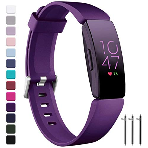 Ouwegaga Compatible for Fitbit Inspire HR Bands Women Men and Fitbit Ace 2 Straps for Kids Large Purple