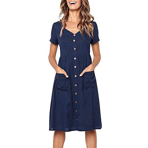 Tyoby Damen Kleid Beiläufig Short Sleeve V-Ausschnitt Sundress mit Taschen(Marine, M)