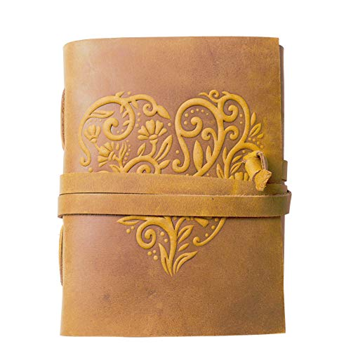 """Leather Journal for Women - 240 Pages Kraft Paper Beautiful Embossed Heart Cover Handmade Leather Bound Journal Notebook (8"""" x 6"""", Tan Brown)"""