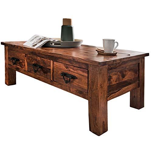 MÖBEL IDEAL Couchtisch Massiv-Holz Sheesham 120 x 60 cm Wohnzimmer-Tisch Braun geölt Beistelltisch Landhausstil 6X Schubladen
