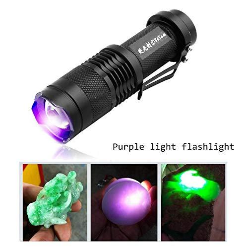 Luz antorcha Ultravioleta - Detector UV Ultravioleta Linterna LED Luz de Fondo 395 NM Lámpara de inspección Antorcha para Perro Gato Orina Manchas de Mascotas Escorpiones - Negro