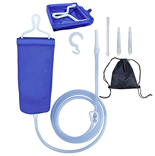 Enema Bag Kit for Colon Cleansing Coffee Women Men Constipation, 2L Folding Enema Bucket Shower Anal Vaginal Douche Cleaner Set with 6ft Silicone Hose and 4 Replacement Nozzle for Adult Child BPA Free