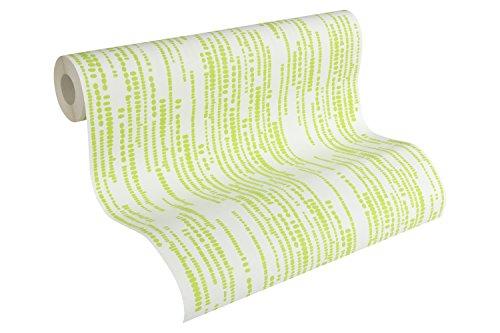 Esprit Home Vliestapete Artisan Fall Tapete Streifentapete 10,05 m x 0,53 m grün weiß Made in Germany 302862 30286-2