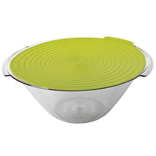 Westmark Saladier avec 2 poignées et Couvercle, contenance : 4 L, diamètre : 32 cm, Plastique, Fresh, Transparent/Vert Pomme, 2440227 A