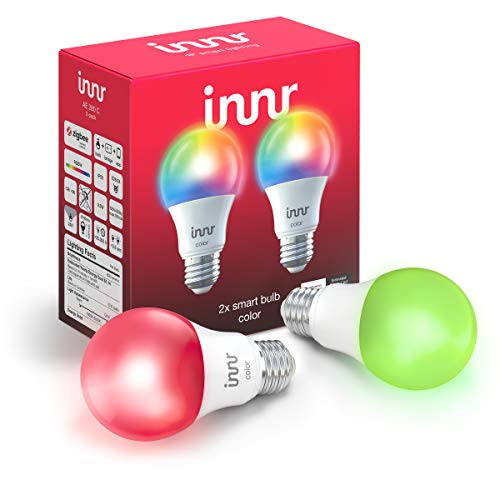 Innr Zigbee Smart Bulb Color A19, Works with Philips Hue, SmartThings, Alexa, Google Home (Hub Required), Dimmable RGBW LED Light Bulb, 60W Equivalent, AE 280C (2-Pack)