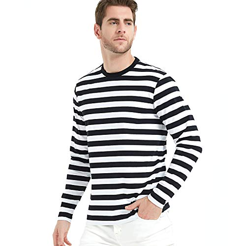 Camiseta de Rayas de Manga Larga Entallada Hombre,Cuello Redondo, Manga Larga, Long Sleeve Camiseta para Hombre t Shirt (Black/White, Large)
