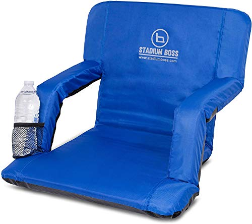 Stadium Boss Recliner Stadium Seat for Bleachers, Benches, Lawns, Backyard, Camping & Beach – Padded Sport Chair, Cushion Backs & Armrest – 6 Reclining Positions – Portable Carry Straps – Blue