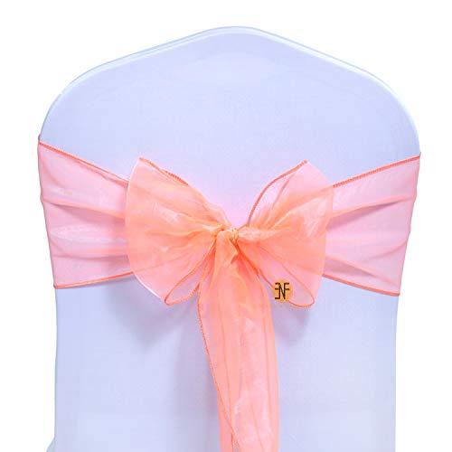 Paquete de 50 Silla Organza Completo Lazo Bandas - Semi-Transparente Tela Cubiertas con Minimal Sheen - Adecuado para Banquetes Bodas,Recepciones,Celebraciones, y Eventos | Naranja Claro