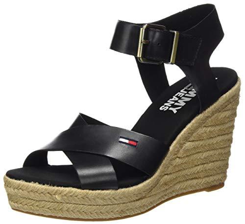 Tommy Hilfiger Natural Wedge Sandal, Sandalias Punta Cerrada para Mujer, Negro (Black Bds), 40 EU