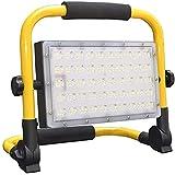 Baustrahler Akku LED 50W Außen Wiederaufladbare Arbeitsleuchte, Wasserdicht IP66 Tragbar...