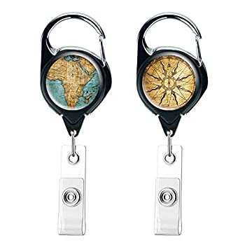 QIELIZI 2 Pack Heavy Duty Retractable Badge Holder Reel,Key Reel with Retractable Reel Clip On ID Card Holders 2-Map Compass