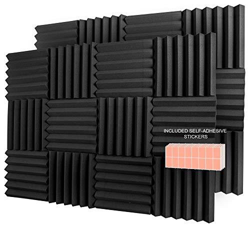 A2S Protection 24 Pack Acoustic Foam Panels 2' X 12' X 12' Soundproofing Studio Foam Wedge Tiles...