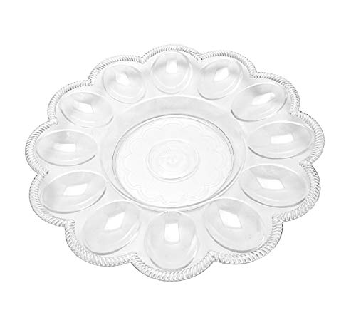 4 Egg Serving Plates 9 in Dia. 12 Wells for Deviled Eggs Clear Plastic
