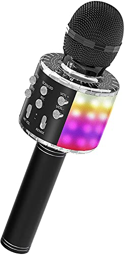 LEERON Upgraded Karaoke Bluetooth Microphone, Kids Microphone Adults Wireless Microphone Speaker, Portable Rechargeable Bluetooth Mic for Partys, Home KTV, Outdoor Activities