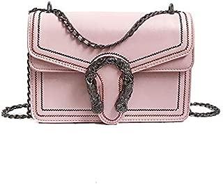 Retro Car Sewing Thread Lock Style One Shoulder Chain Crossbody Envelope Package (Pink) Girls Handbag