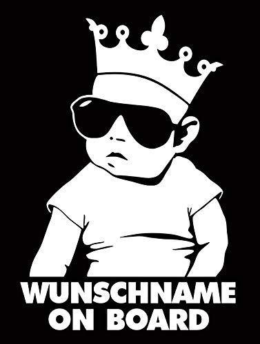 HR-WERBEDESIGN 1 pegatina con el nombre que desee en la placa, con texto 'Hangover Baby Auto Kinder fahrt mit Pinz Prince'.