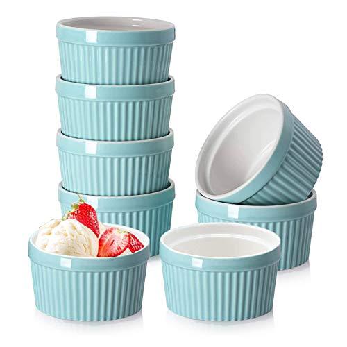 Latomex 6 OZ Porcelain Ramekins, Set of 8 Souffle Dish Ramekins Bowls for Creme Brulee Pudding, Oven Safe Custard Cups (Blue)