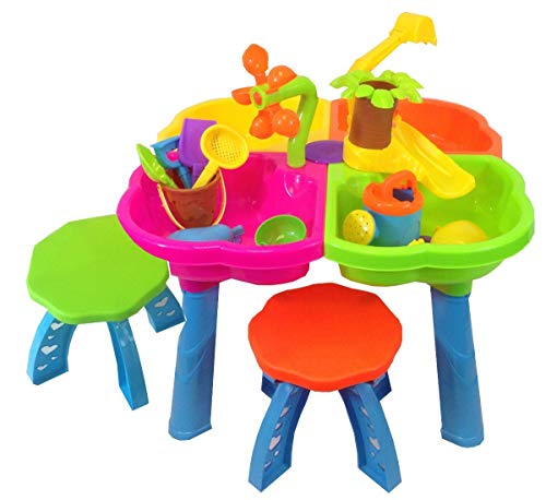 inside out toys sand and water play table 4 in 1 with loads of great accessories and 2 stools