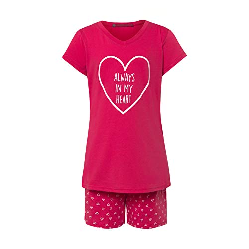 Mädchen Shorty-Schlafanzug - Kurze Hose & kurzärmliges Oberteil - Herz-Motiv - Design 'Heart' - Größe 152