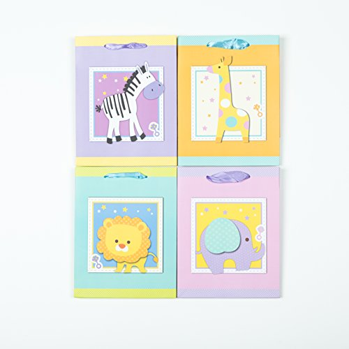 """[12 bags] Baby Shower Gift Bags With Handles - Boy or Girl - 4 Different Animals (7*4*9"""" Medium)"""
