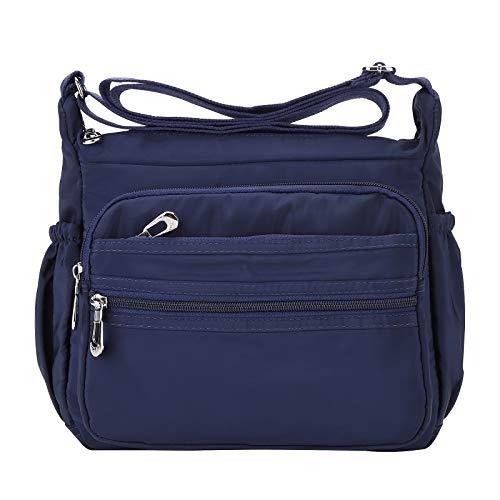 NOTAG Damen Umhängetasche, Wasserdicht Nylon Schultertasche Multi-Tasche Messenger Bag 2 Size (Blau, S)