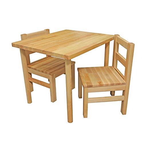 Bubema Kindersitzgruppe massiv, Tisch, Stuhl oder auch als Set in 2 Farben Farbe Natur, Größe Tisch + Zwei Stühle