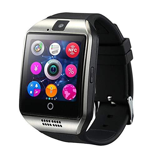 UIEMMY Reloj Inteligente con cámara Q18 Bluetooth Smartwatch Ranura para Tarjeta SIM TF Rastreador de Actividad física Reloj Deportivo Relojes Android, Q18 Plata