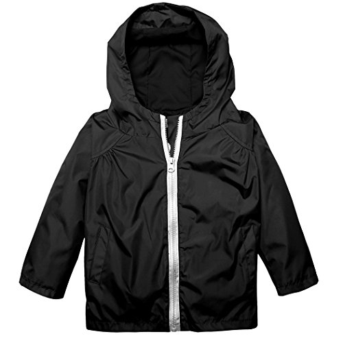 Arshiner Little Kid Waterproof Lightwight Jacket Outwear Raincoat with Hooded Black