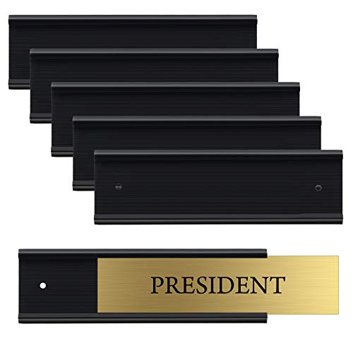 """Set of 6 – Sturdy and Elegant Black Aluminum Wall Mount Name Plate Holder, Office Business Door Sign Holder, 8"""" X 2"""" - Hardware and Inserts are Not Included"""