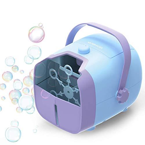 1 BY ONE Tragbare Seifenblasenmaschine, Bubble Machine, Batteriebetrieben und AC-Adapter Automatischer Blasmechanismus für den Außen- oder Innenbereich, Blau