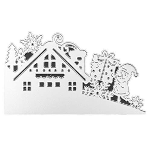 COLUDOR Weihnachtsmann Haus Metall Stanzformen Schablone DIY Scrapbooking Album Stempel Papier Karte Prägung Basteln Dekoration