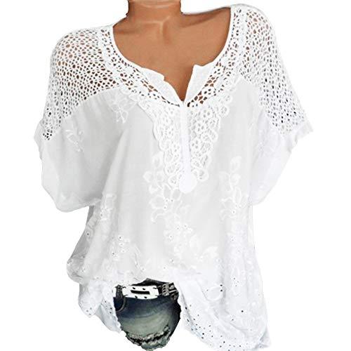 Riou Camicia Donna Elegante Manica Corta Estive Bluse Elegantei Casual Solido Taglie Forti Sciolto Girocollo Hollow Sexy Moda Plus Size T-Shirt Camice