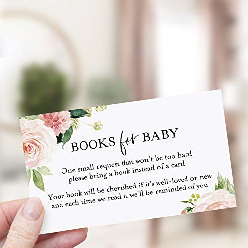 Bliss Collections Book Request Cards for Baby Shower,Pack of 50 Cute PinkBoho Floral Books for BabyCards,2 x 3.5 onPremiumQualityHeavyweight100lb Card Stock, Made in the USA