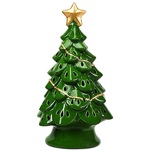 Productworld258 11.5' Pre-Lit Ceramic Hollow Christmas Tree with LED Lights