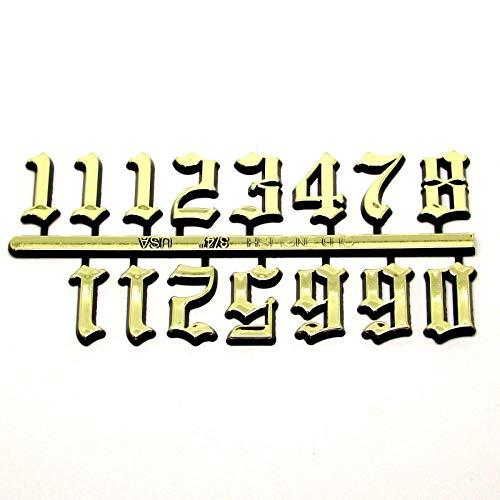 Dans Clock Shop Selbstklebend Schwarz & Gold Plastik Uhr Nummern/Römische Ziffern/Punkte Striche - Gold Old English 20mm High