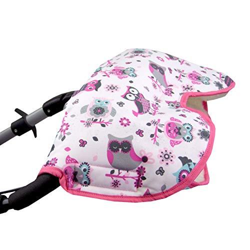 BAMBINIWELT universaler Muff/Handwärmer für Kinderwagen, Buggy, Jogger mit Wolle, EULEN (§1) XX