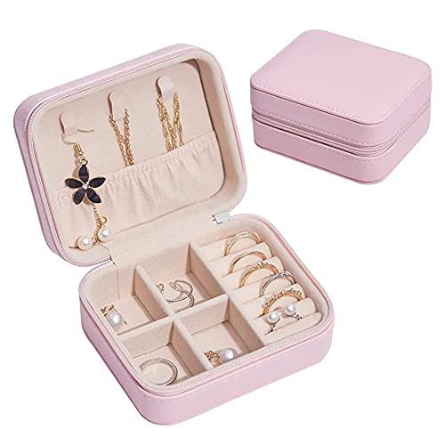 QIUWENSS Simplicity Mini Caja De Almacenamiento De Joyas, Estuche De Viaje Portátil De Cuero PU, para Aretes/Pulseras/Anillos/Relojes, Regalo Ideal para Mujer Novia Esposa (Color : Pink)