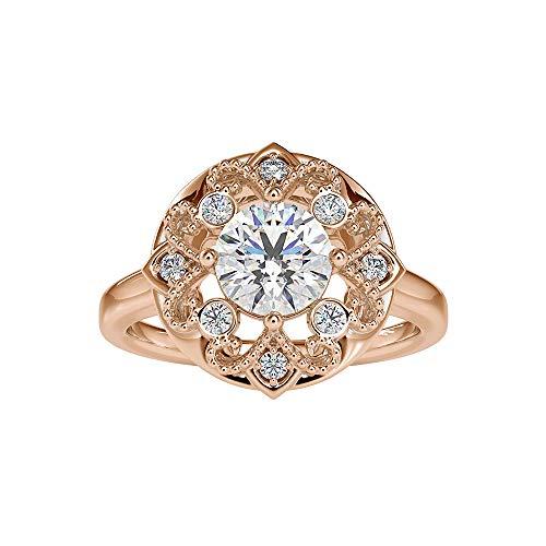 1,45 ct zertifizierter Moissanit Solitär Gold Ring, DE-VS1 Farbe Klarheit Edelstein Halo-Ring, minimalistische Perlen graviert Frauen Ring, einzigartiger Ehering, 14K Roségold, Size:EU 70