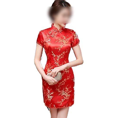 Qipao S-6Xl - Vestidos cortos de satén rojo para mujer, patrón de pteris chino tradicional, talla grande, 5XL, vestido tradicional