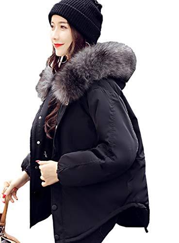 Dames winterjas Sale korte mouwen vrije tijd elegant chic warm gewatteerde mantel met bontcapuchon effen kleuren comfortabele asymetrische overgang parker mantel meisje
