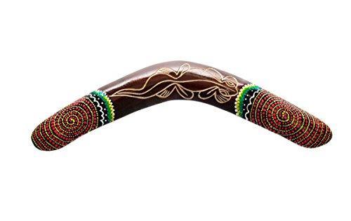 Ciffre 40cm Bumerang Bummerang Boomerang Deko Fair Trade Dotpaint Bemalt Geschnitzt Gecko