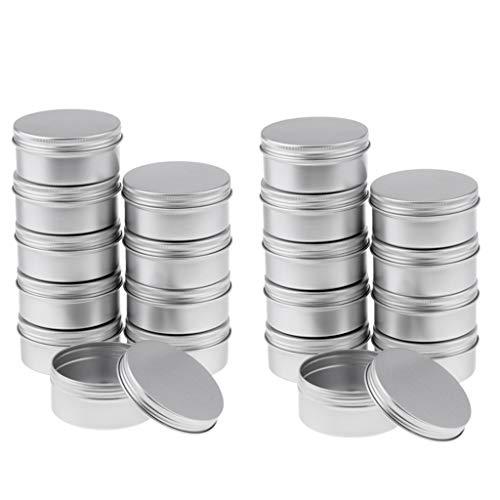 SDENSHI 20pcs 150ml Pots Vide en Aluminium Argenté Pot Cosmétique de l'Echantillons pour Baume à Lèvre Coméstique Stockage de Voyage